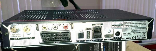 Задняя панель приставки Humax