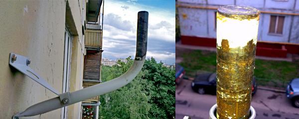Спутниковая штанга - крепление к стене